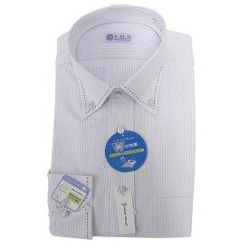 Yシャツ/長袖/ボタンダウン/グレー/デザイン/スタンダード/I.B.S/形態安定/消臭/ストレッチ/抗菌/