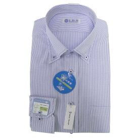Yシャツ/長袖/ボタンダウン/ブルー/織柄無地/スタンダード/I.B.S/形態安定/消臭/ストレッチ/抗菌/