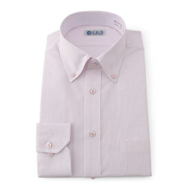 Yシャツ/長袖/ショートボタンダウン/ピンク/デザイン/スタンダード/I.B.S/形態安定/消臭/ストレッチ/抗菌/