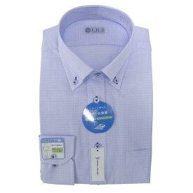 Yシャツ/長袖/ショートボタンダウン/ブルー/デザイン/スタンダード/I.B.S/形態安定/消臭/ストレッチ/抗菌/