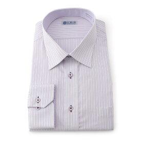 Yシャツ/長袖/セミワイド/パープル/デザイン/スタンダード/I.B.S/形態安定/