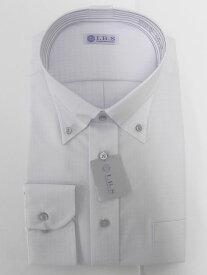 Yシャツ/長袖/ボタンダウン/グレー/デザイン/スタンダード/I.B.S/形態安定/