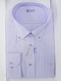 Yシャツ/長袖/ボタンダウン/ブルー/デザイン/スタンダード/I.B.S/形態安定/