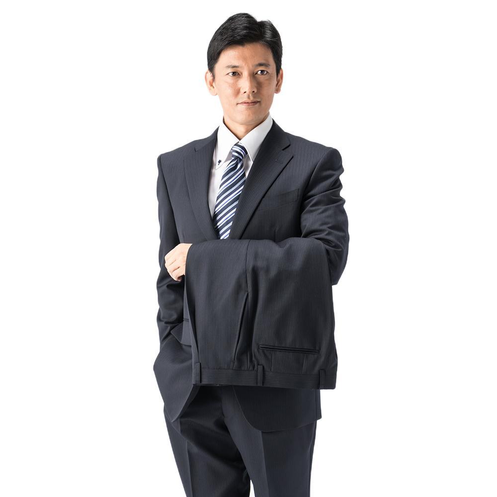 スーツ/2つボタン/2ピース/ネービー/ストライプ/ゆったり/KANSAIYAMAMOTO/ワンタック/ツーパンツ/ブランドスーツ//【スモールサイズ有】【トールサイズ有】