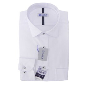Yシャツ/長袖/ワイド/ホワイト/織柄無地/スタンダード/I.B.S/形態安定/防汚/