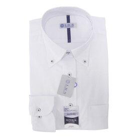 Yシャツ/長袖/ボタンダウン/ホワイト/織柄無地/スタンダード/I.B.S/形態安定/防汚/