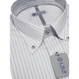 Yシャツ/長袖/ボタンダウン/グレー/ストライプ/スタンダード/I.B.S/形態安定/消臭/ストレッチ/抗菌/