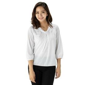 【値下げ】ブラウス レディース 7分袖 アイシャツ ショール 形態安定 ノーアイロン ノンアイロン シャツ ビジネスシャツ ホワイト はるやま