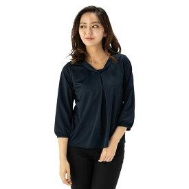 【値下げ】ブラウス レディース 7分袖 アイシャツ ショール 形態安定 ノーアイロン ノンアイロン シャツ ビジネスシャツ ネイビー はるやま