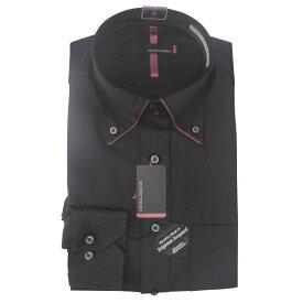 Yシャツ/長袖/ボタンダウン/ブラック/デザイン/スリム/RESPECTNERO/形態安定/