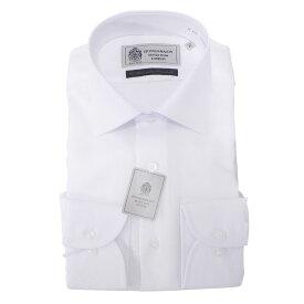 Yシャツ/長袖/セミワイド/ホワイト/織柄無地/スタンダード/STOVEL&MASON/綿100%超細番手/ブランドシャツ/