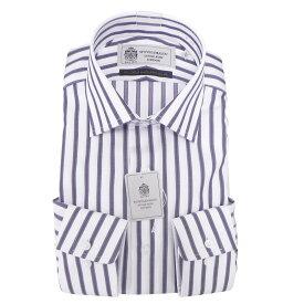 Yシャツ/長袖/ワイド/ネービー/ストライプ/スタンダード/STOVEL&MASON/綿100%超細番手/ブランドシャツ/