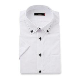 ワイシャツ メンズ Yシャツ カッターシャツ 半袖 形態安定 ストレッチ 織柄無地 ホワイト 春夏 COOLBIZ 綿 スリム ショート RESPECTNERO リスペクトネロ メンズファッション スーツのはるやま