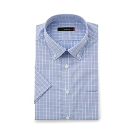 ワイシャツ メンズ Yシャツ カッターシャツ 半袖 形態安定 ストレッチ 織柄無地 ブルー 春夏 COOLBIZ 綿 スリム ショート RESPECTNERO リスペクトネロ メンズファッション スーツのはるやま