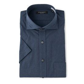 ワイシャツ メンズ Yシャツ カッターシャツ 半袖 ネイビー 春夏 COOLBIZ 綿 スリム ワイド RuckenBaccharBlackface リッケンバッカーブラックフェイス メンズファッション スーツのはるやま