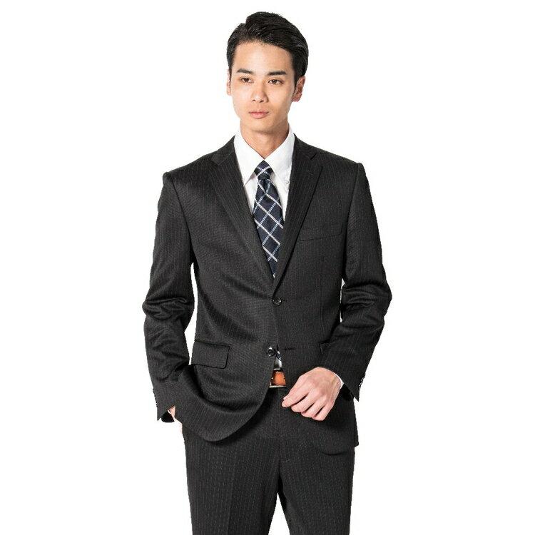 スーツ メンズ 背広 メンズスーツ 2つボタン 2ピース 上下ウォッシャブル ノータック ストレッチ ニット素材 ストライプ ブラック 春夏 ポリエステル スタンダード 健康 phiten ファイテンニットスーツ メンズファッション スーツのはるやま