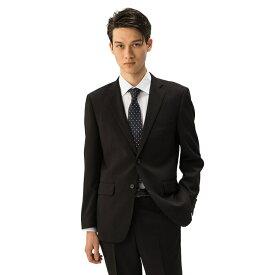 【4,900円】【春夏物】スーツ メンズ スタンダードシルエット ノータック ブラック 黒 耐久性 防しわ性優れた ポリエステル素材 ナチュラルストレッチ はるやま フュージョンクラブ ビジネススーツ 在宅ワークにもおすすめ