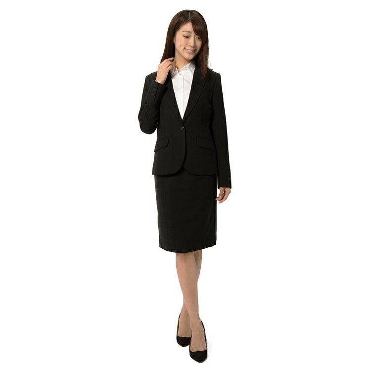 YUMIKATSURAウォッシャブルストレッチ1Bジャケット チェック ブラック ジャケット レディース スーツのはるやま
