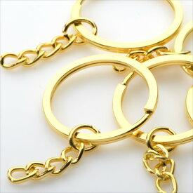 キーリング 5個セット ゴールド 金 チェーン付き 二重 ニコイル キーホルダー リングパーツ アクセサリー パーツ ハンドメイド 手芸