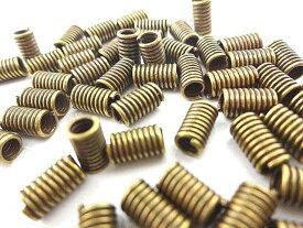 金古美 コイルパーツ 10個セット/アンティークゴールド コイル ネジ巻き 紐留め/ハンドメイド パーツ 金具