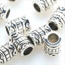 メタルビーズ 10個セット i2 筒状 アクセサリー パーツ シルバー 銀 ロンデル スペーサー 金属 金具 留め具 ビーズ 穴…