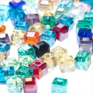 キューブ型 ガラスビーズ 4.5mm ミックス 100個セット 14カラー アソート 四角 正方形 スクエア パーツ オーロラ 透明 サイコロ 硝子 穴有り 穴開き ガラス玉 カット ピアス ネックレス イヤリン