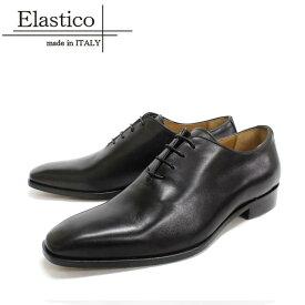 Elastico エラスティコ 651 ホールカット スクエアトゥ NERO ブラック 本革 革靴 黒色 メンズ ビジネスシューズ  紳士靴 イタリア製【送料無料】