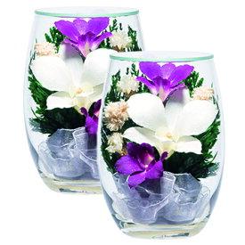仏壇用 プリザーブドフラワー 造花 ブーケ お盆 仏具 お供え コンパクト はせがわ【プリエール S 蘭スターチス対7935N】