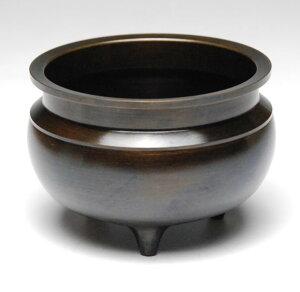 仏具 香炉 机上香炉(真鍮製 色付)3.5寸 各宗派用 黒茶色 国産 高岡製 丸型香炉