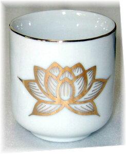 仏具用品 白上金蓮 湯呑 1.6号 陶器製