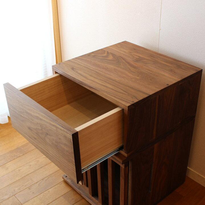 【送料無料】ウォールナット無垢の収納 引き出し 小物入れ(受注生産のオーダー家具)