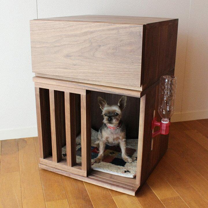 【送料無料】ウォールナット無垢のワンちゃん用ハウス・収納セット 引き出し 小型犬サイズ 犬小屋 室内用(受注生産のオーダー家具)
