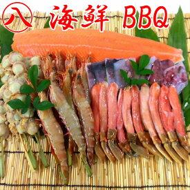 海鮮BBQセット 10人前 エビ・カニ・ホタテ・イカ・サケ 5種セット 串付き バーベキューセット