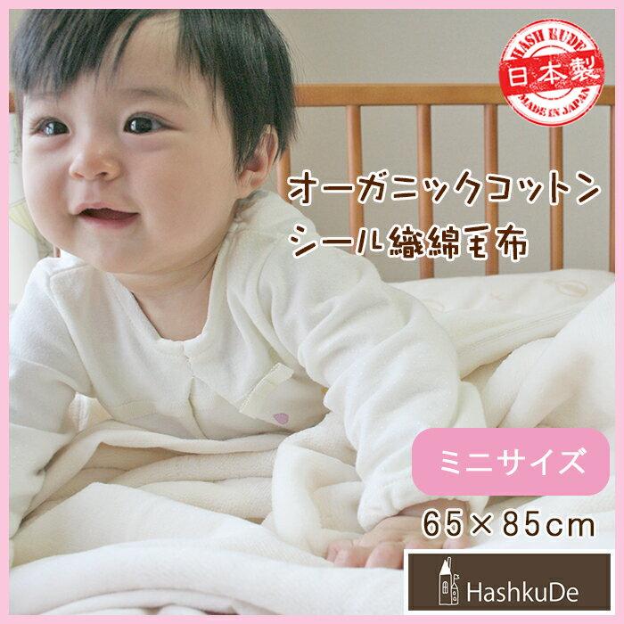 【ミニサイズ】オーガニックベビー綿毛布《シール織》 日本製 /リニューアル/ベビー毛布 (約65×85cm) もうふ