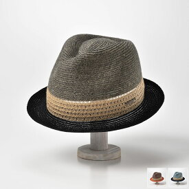 中折れハット メンズ 帽子 春夏 大きいサイズ カラフル ストロー シャンブレー 麻素材 麦わら 57cm 59cm 61cm ブラック ブルー ブラウン DAKS(ダックス) シャンブレーブレード D1674 送料無料 あす楽