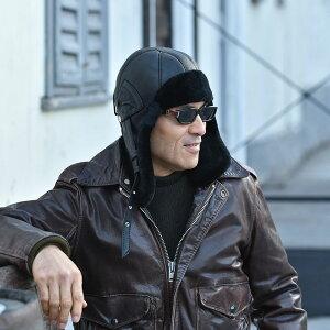 【飛行帽(フライトキャップ)/Sterkowski(ステルコフスキー)】Delling(デリング)≪高品質な本革にこだわったポーランド製のパイロットキャップ(ボンバーキャップ)メンズ/レディース/紳士/帽子/ハット/大きいサイズ/ギフト/あす楽≫