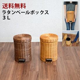 【送料無料】ラタン ゴミ箱3L 籐ペール アジアン オシャレ フタ付き キッチン洗面所 トイレ