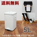 【送料無料】ゴミ箱 5L スクエア スチール ふた付き