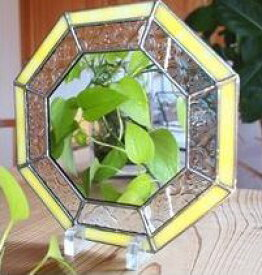 【風色】ハンドメイド ステンドグラス 八角鏡 (黄、黄緑、ピンク) 風水鏡