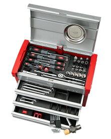 京都機械工具(KTC) ツールセット ツールチェスト シルバー×レッド 68点組 SK36820E (SK SALE 2020)