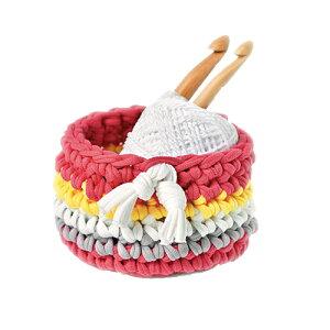 Panami パナミ ニット布で編む ミニバスケット ピンクかぎ針初心者小物 手芸 手作り 洋裁