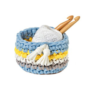 Panami パナミ ニット布で編む ミニバスケット 水色かぎ針初心者小物 手芸 手作り 洋裁