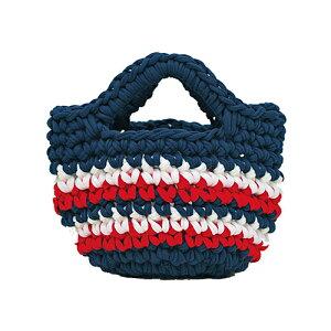 Panami パナミ ニット布で編む ミニバッグ ネイビーかぎ針初心者小物 手芸 手作り 洋裁