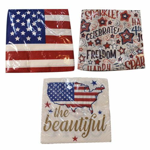 [限定1] 輸入品 アメリカン デザイン 紙ナプキン パーティー アニバーサリー 3デザインセット