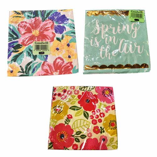 [限定1] 輸入品 花柄+1デザイン 紙ナプキン パーティー アニバーサリー 映え 3デザインセット
