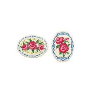 刺繍キット バラとレース(ベージュ) くるみボタン風ブローチ オリムパス No.9062