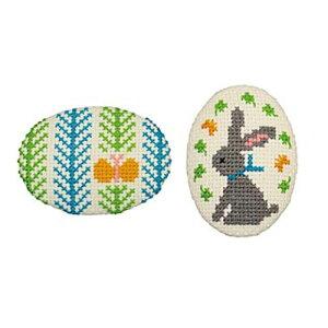 刺繍キット チョウチョとウサギ(ベージュ) くるみボタン風ブローチ オリムパス No.9064