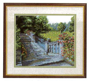 刺繍 キット オリムパス 水辺の庭園(オフホワイト) No.7016 クロスステッチ 刺しゅうキット手芸 手作り刺繍