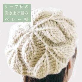 編み物キット 1玉で編める リーフ柄の引き上げ編みベレー帽 編み図付 [送料無料] アルパカレジェーロ ハマナカ