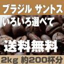 【コーヒー豆】 【送料無料】2000g 送料無料 焙煎 挽き具合が選べて たっぷり 2k ブラジル サントス NO2 コーヒー】 【珈琲豆】【RCP】